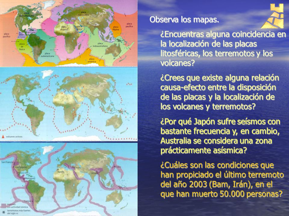 Observa los mapas. ¿Encuentras alguna coincidencia en la localización de las placas litosféricas, los terremotos y los volcanes? ¿Crees que existe alg