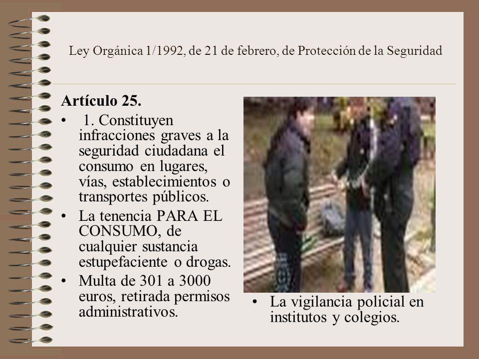 Ley Orgánica 1/1992, de 21 de febrero, de Protección de la Seguridad Artículo 25. 1. Constituyen infracciones graves a la seguridad ciudadana el consu