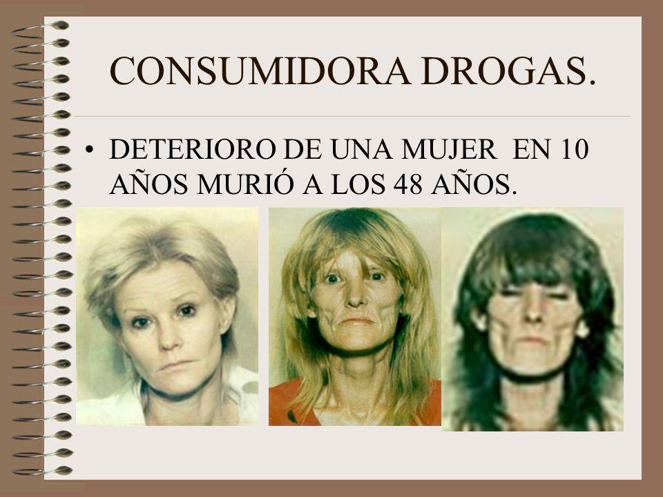 CONSUMIDORA DROGAS. DETERIORO DE UNA MUJER EN 10 AÑOS MURIÓ A LOS 48 AÑOS.