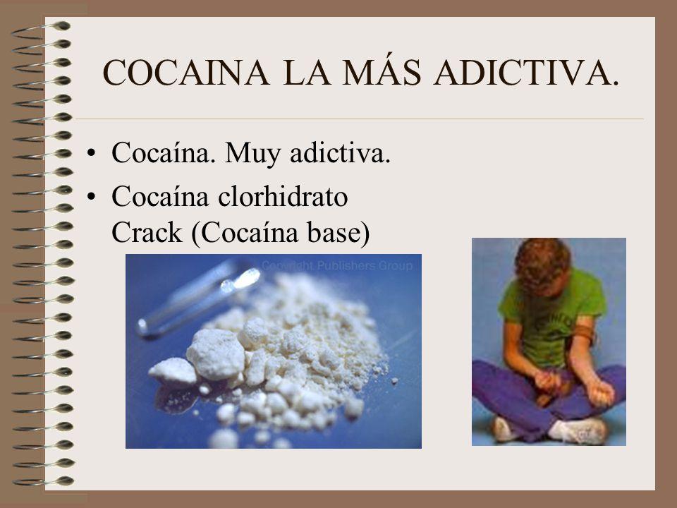 COCAINA LA MÁS ADICTIVA. Cocaína. Muy adictiva. Cocaína clorhidrato Crack (Cocaína base)