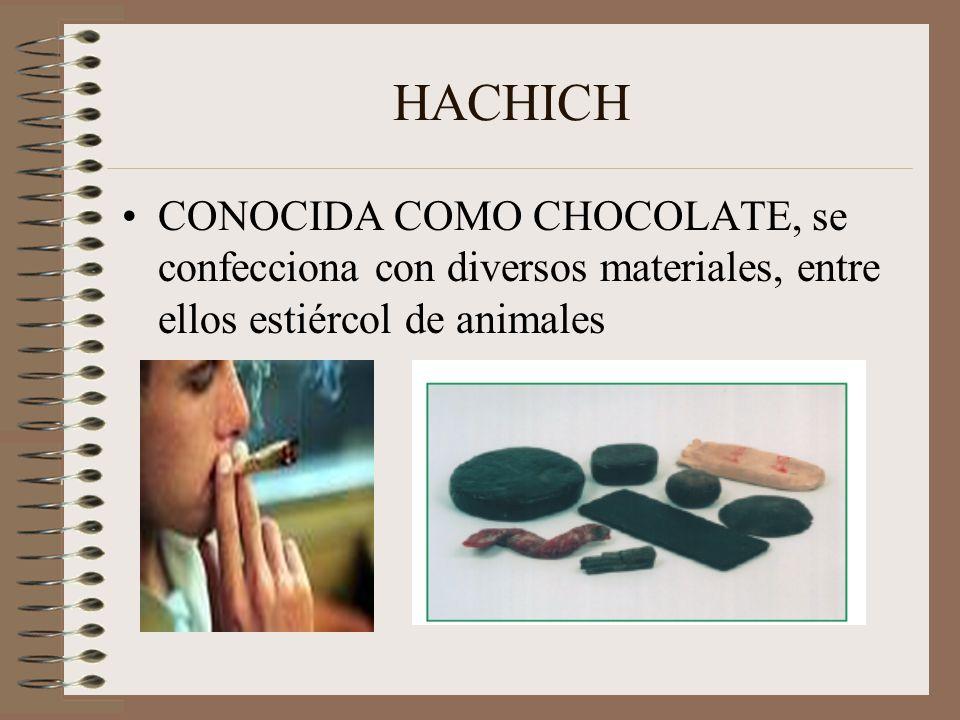 HACHICH CONOCIDA COMO CHOCOLATE, se confecciona con diversos materiales, entre ellos estiércol de animales
