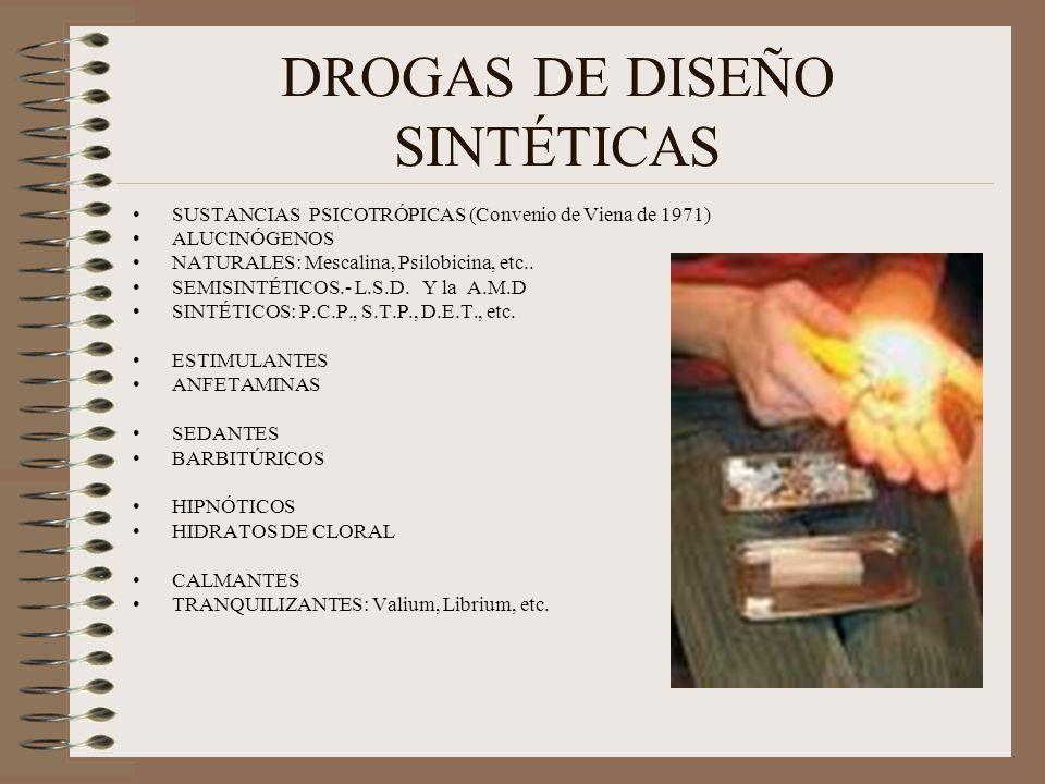 DROGAS DE DISEÑO SINTÉTICAS SUSTANCIAS PSICOTRÓPICAS (Convenio de Viena de 1971) ALUCINÓGENOS NATURALES: Mescalina, Psilobicina, etc.. SEMISINTÉTICOS.