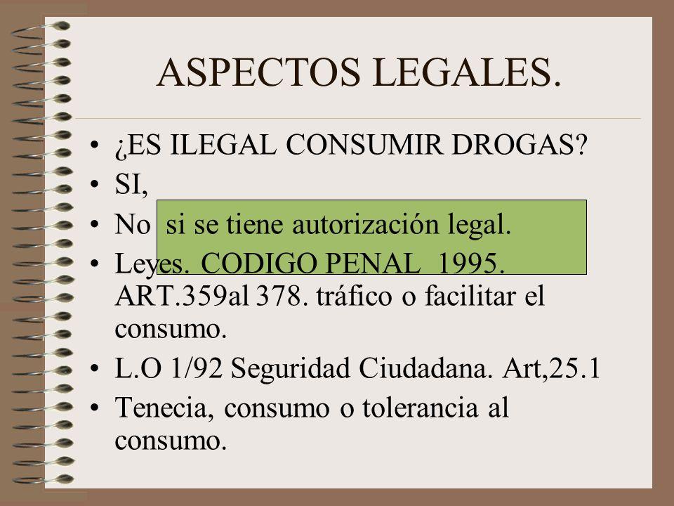 ASPECTOS LEGALES. ¿ES ILEGAL CONSUMIR DROGAS? SI, No si se tiene autorización legal. Leyes. CODIGO PENAL 1995. ART.359al 378. tráfico o facilitar el c