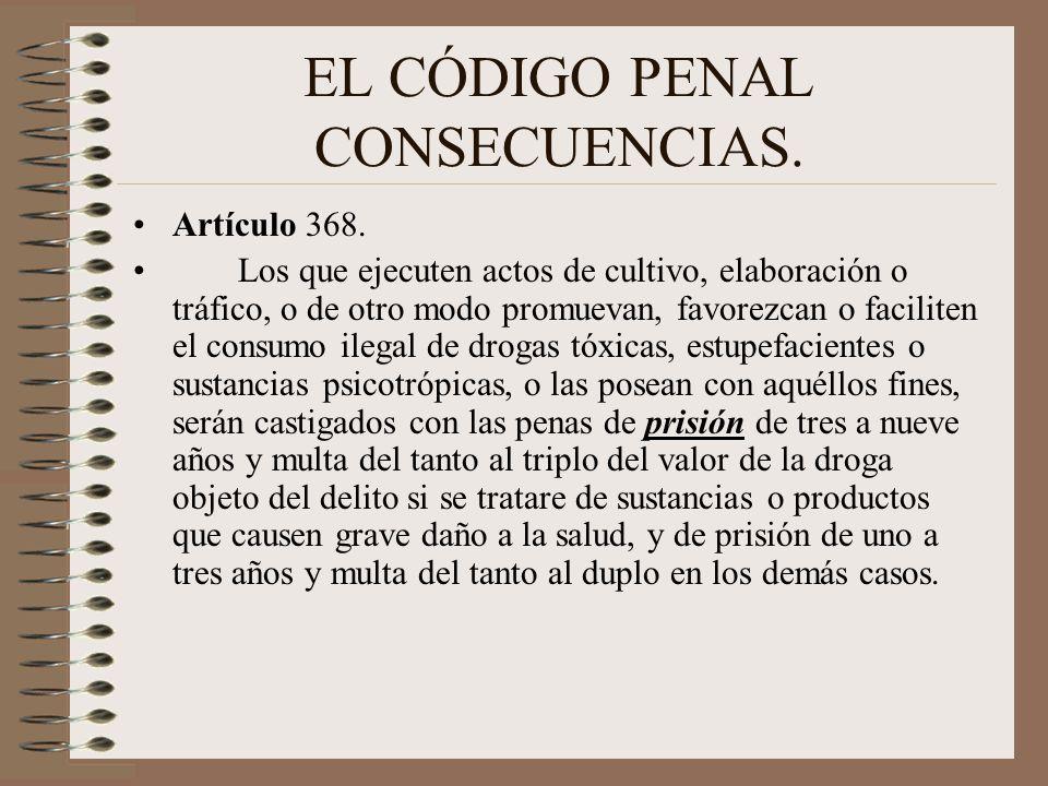 EL CÓDIGO PENAL CONSECUENCIAS. Artículo 368. Los que ejecuten actos de cultivo, elaboración o tráfico, o de otro modo promuevan, favorezcan o facilite