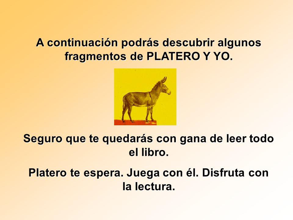 Juan Ramón escribió PLATERO Y YO en prosa poética y la publicó en 1917 aunque llevaba varios años escribiéndola. Es una mezcla de realidad y fantasía