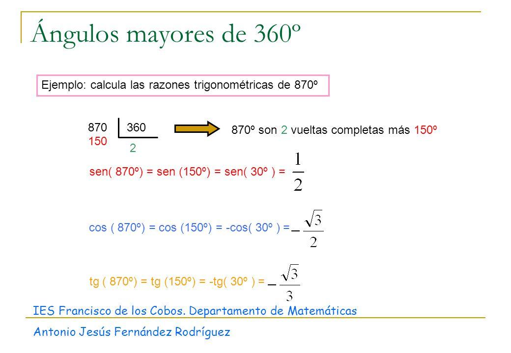 Ángulos mayores de 360º Ejemplo: calcula las razones trigonométricas de 870º 2 870360 150 870º son 2 vueltas completas más 150º sen( 870º) = sen (150º