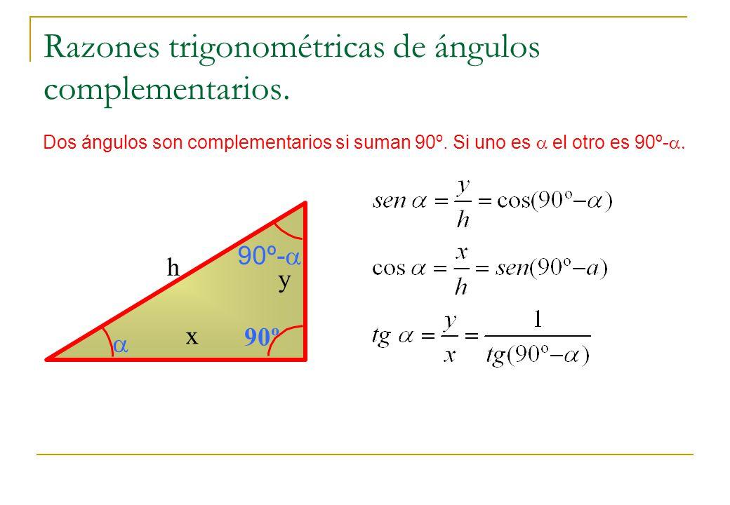 Razones trigonométricas de ángulos complementarios. Dos ángulos son complementarios si suman 90º. Si uno es el otro es 90º- x y h 90º 90º-