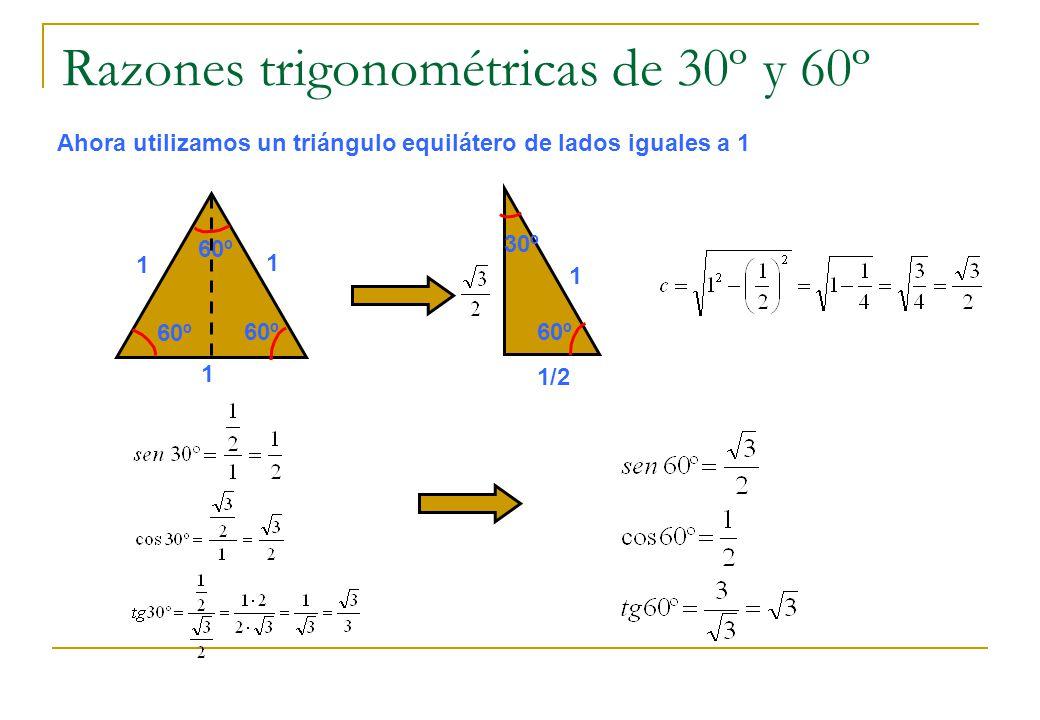 Razones trigonométricas de 30º y 60º Ahora utilizamos un triángulo equilátero de lados iguales a 1 60º 1 1 1 30º 1 1/2