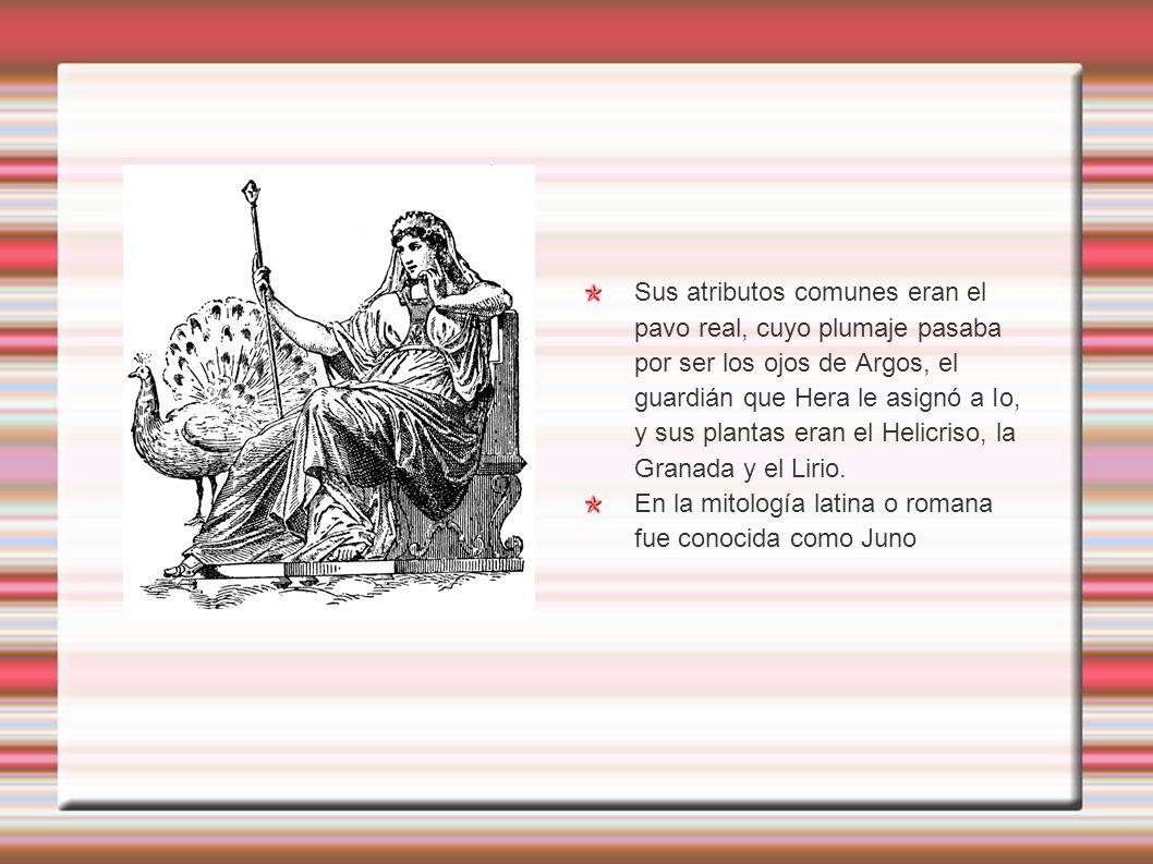 Sus atributos comunes eran el pavo real, cuyo plumaje pasaba por ser los ojos de Argos, el guardián que Hera le asignó a Io, y sus plantas eran el Hel
