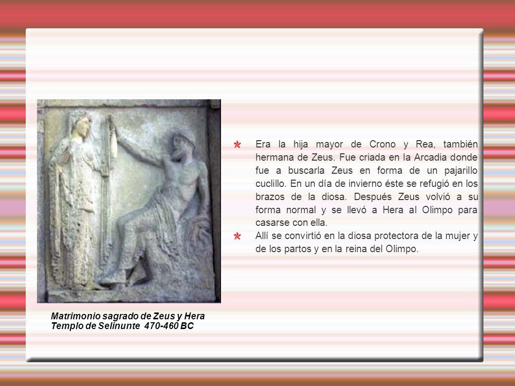 Era la hija mayor de Crono y Rea, también hermana de Zeus. Fue criada en la Arcadia donde fue a buscarla Zeus en forma de un pajarillo cuclillo. En un