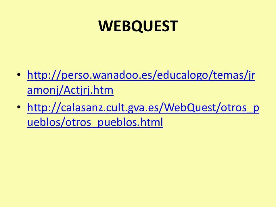 WEBQUEST http://perso.wanadoo.es/educalogo/temas/jr amonj/Actjrj.htm http://perso.wanadoo.es/educalogo/temas/jr amonj/Actjrj.htm http://calasanz.cult.gva.es/WebQuest/otros_p ueblos/otros_pueblos.html http://calasanz.cult.gva.es/WebQuest/otros_p ueblos/otros_pueblos.html