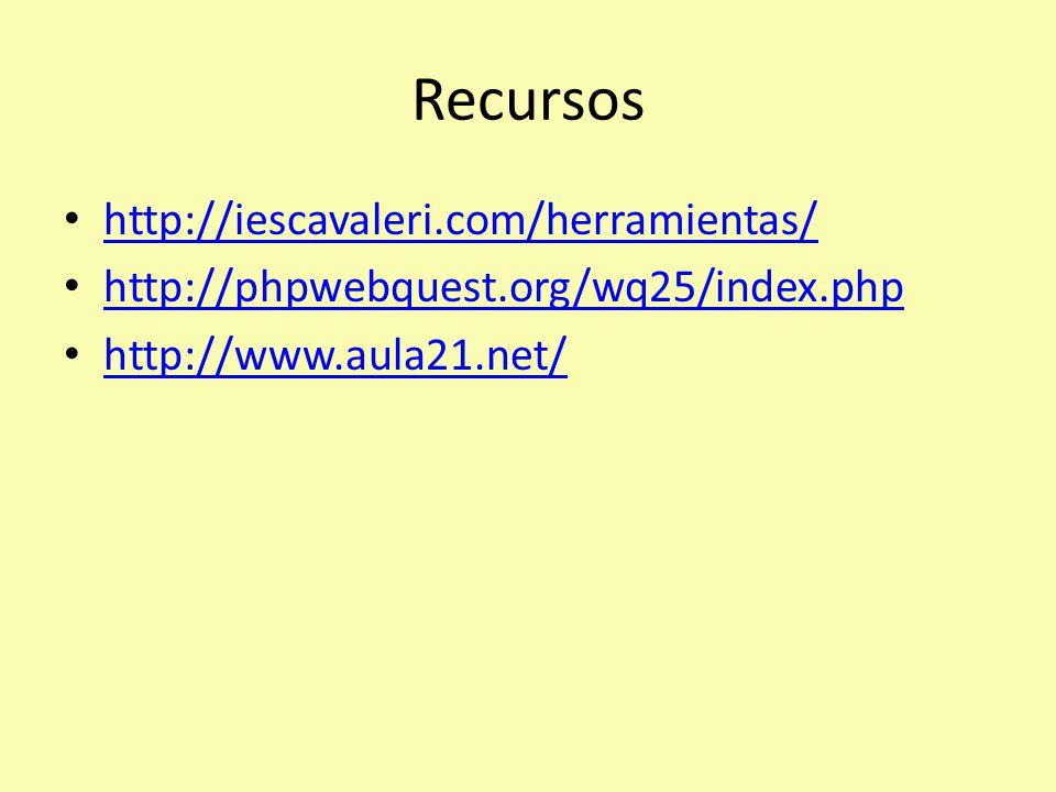 Recursos http://iescavaleri.com/herramientas/ http://phpwebquest.org/wq25/index.php http://www.aula21.net/