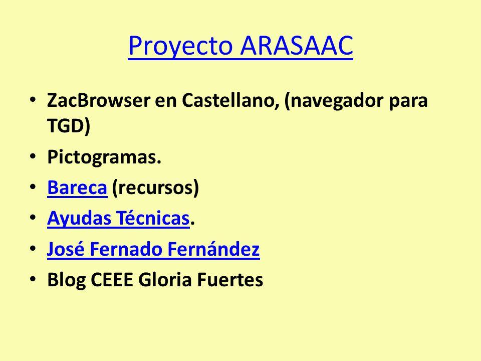 Proyecto ARASAAC ZacBrowser en Castellano, (navegador para TGD) Pictogramas. Bareca (recursos) Bareca Ayudas Técnicas. Ayudas Técnicas José Fernado Fe