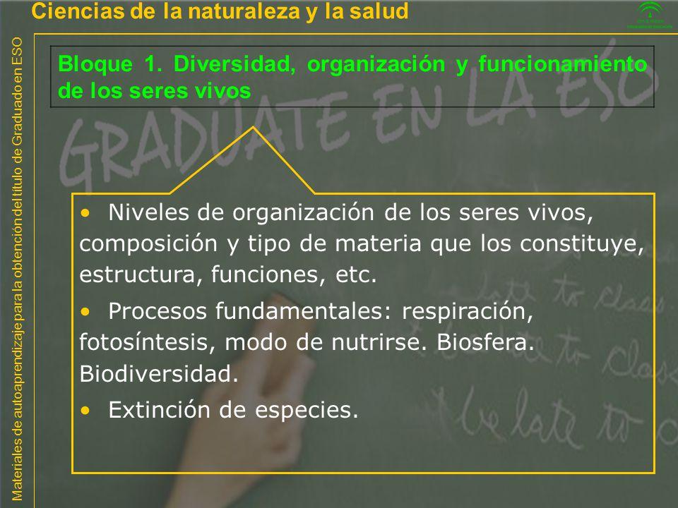 Materiales de autoaprendizaje para la obtención del título de Graduado en ESO Ciencias de la naturaleza y la salud Bloque 1. Diversidad, organización