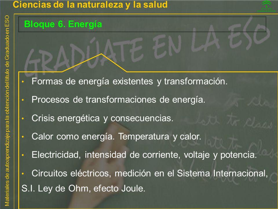 Materiales de autoaprendizaje para la obtención del título de Graduado en ESO Ciencias de la naturaleza y la salud Bloque 6. Energía Formas de energía