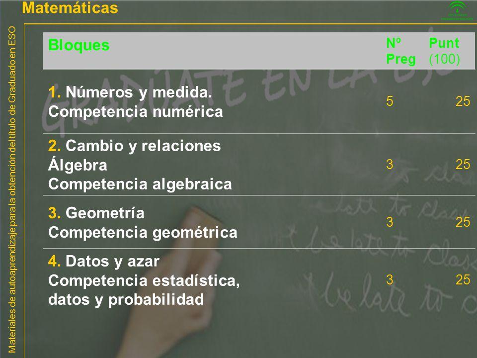 Materiales de autoaprendizaje para la obtención del título de Graduado en ESO Matemáticas Bloques Nº Preg Punt (100) 1. Números y medida. Competencia