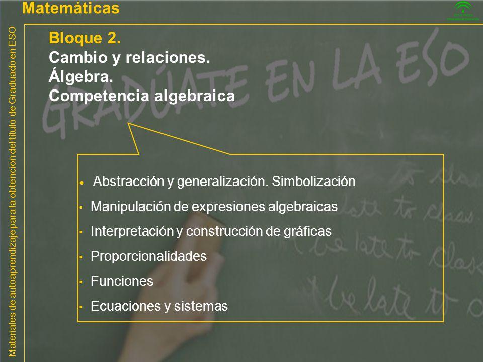 Materiales de autoaprendizaje para la obtención del título de Graduado en ESO Matemáticas Bloque 2. Cambio y relaciones. Álgebra. Competencia algebrai