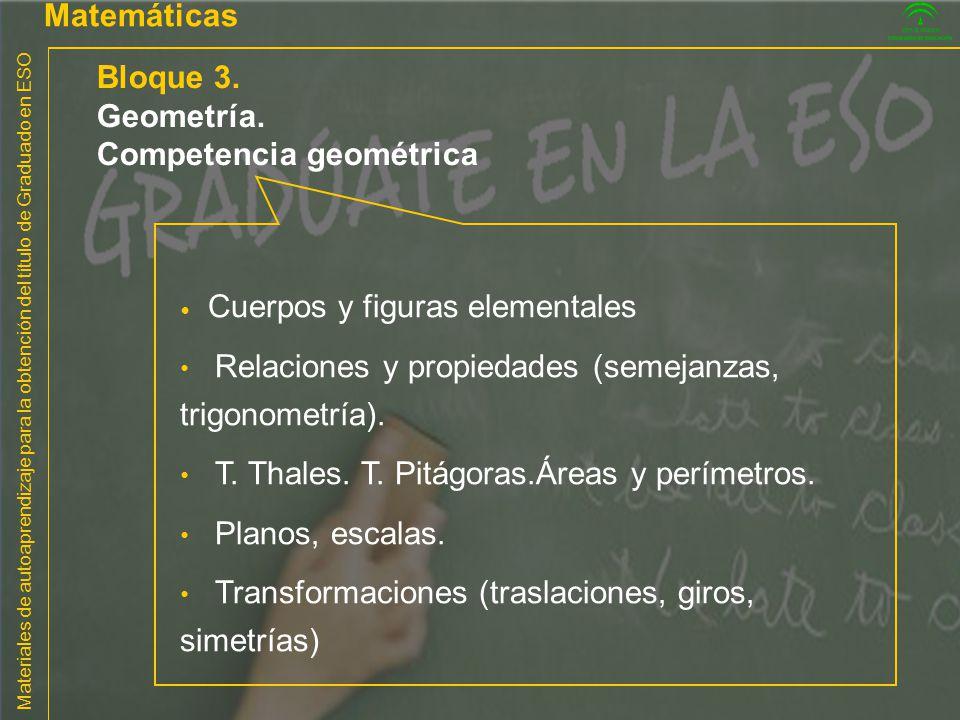 Materiales de autoaprendizaje para la obtención del título de Graduado en ESO Matemáticas Bloque 3. Geometría. Competencia geométrica Cuerpos y figura
