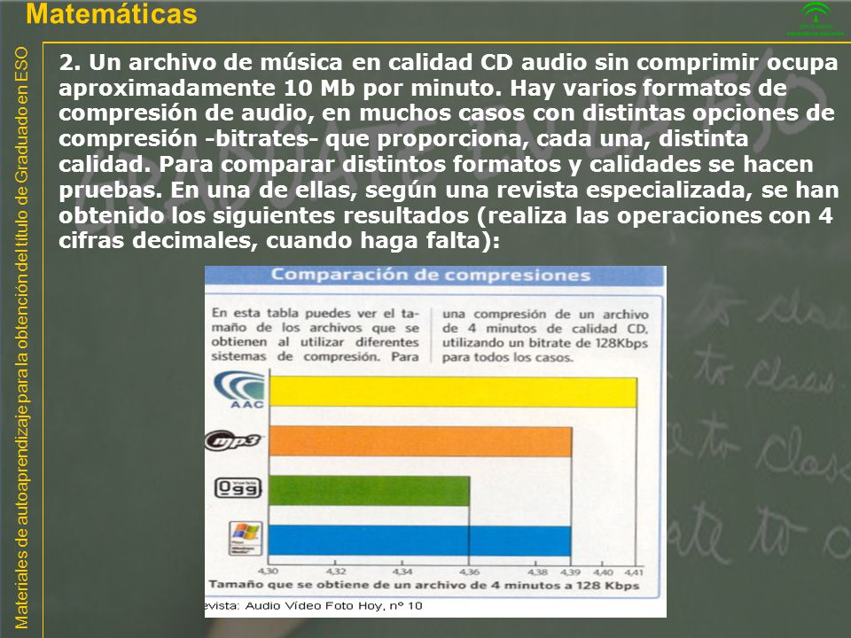 Materiales de autoaprendizaje para la obtención del título de Graduado en ESO Matemáticas 2. Un archivo de música en calidad CD audio sin comprimir oc