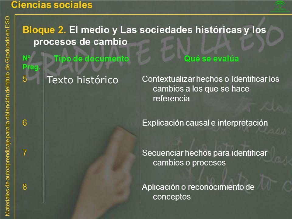 Materiales de autoaprendizaje para la obtención del título de Graduado en ESO Bloque 2. El medio y Las sociedades históricas y los procesos de cambio