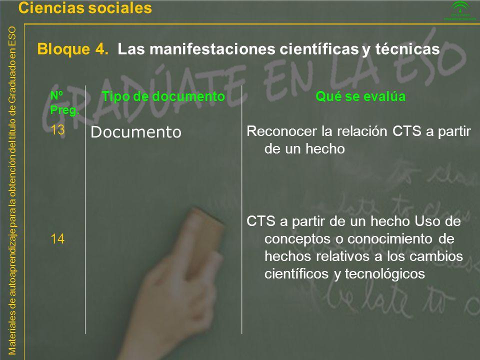 Materiales de autoaprendizaje para la obtención del título de Graduado en ESO Bloque 4. Las manifestaciones científicas y técnicas Ciencias sociales N