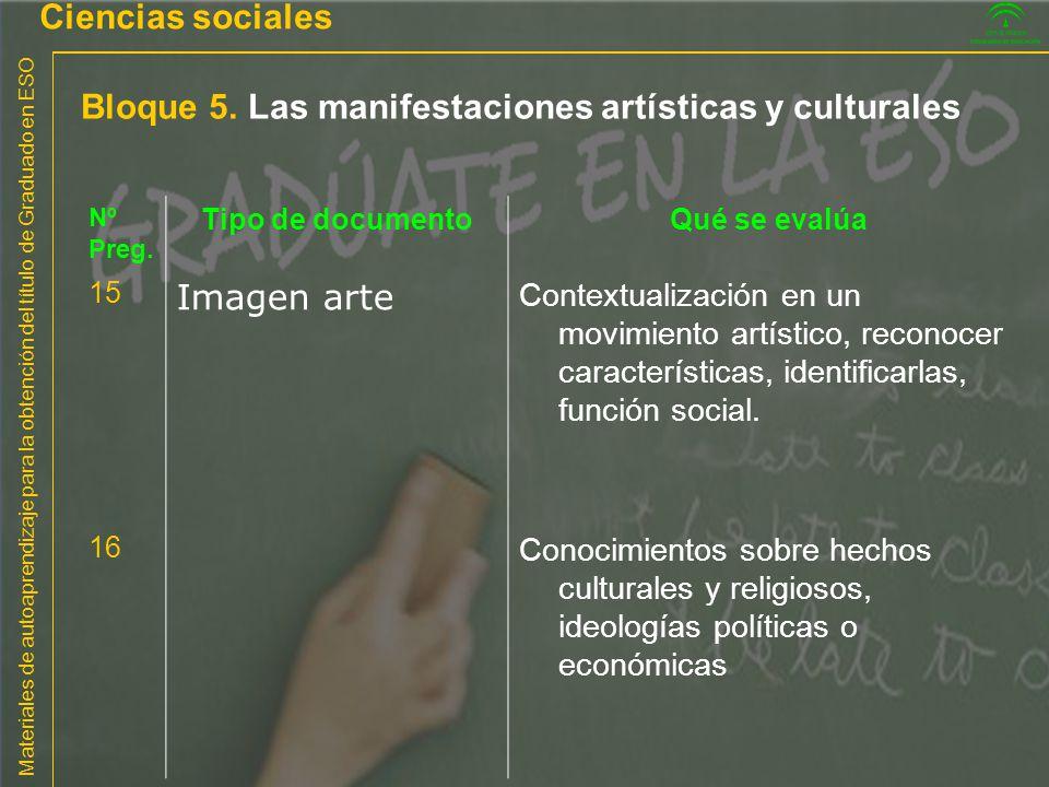 Materiales de autoaprendizaje para la obtención del título de Graduado en ESO Bloque 5. Las manifestaciones artísticas y culturales Ciencias sociales