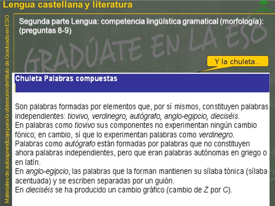 Materiales de autoaprendizaje para la obtención del título de Graduado en ESO Segunda parte Lengua: competencia lingüística gramatical (morfología): (