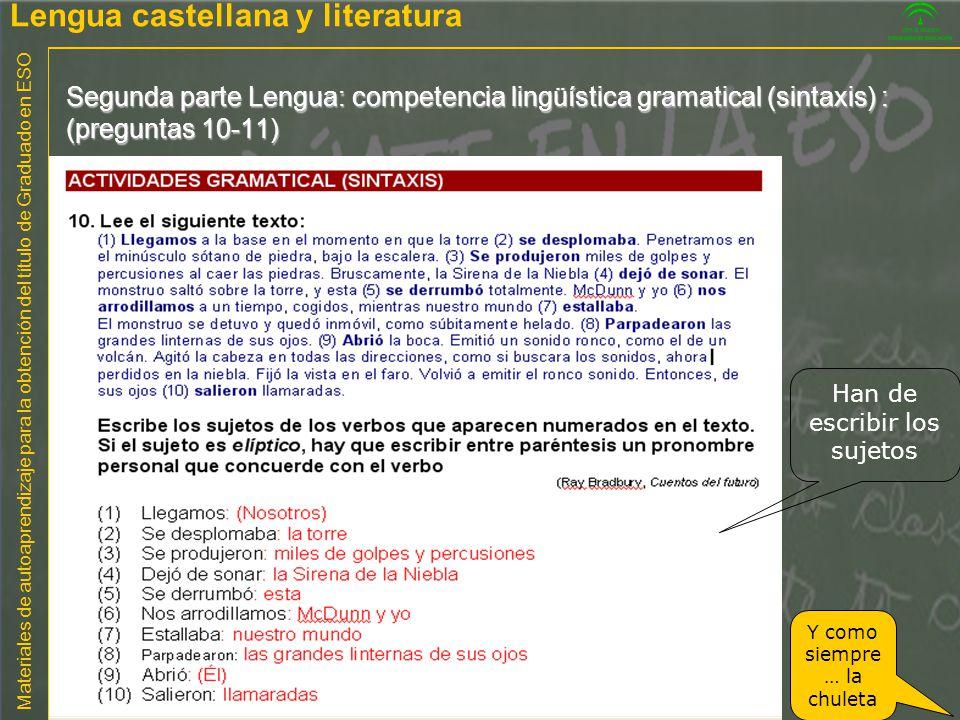 Materiales de autoaprendizaje para la obtención del título de Graduado en ESO Segunda parte Lengua: competencia lingüística gramatical (sintaxis) : (p