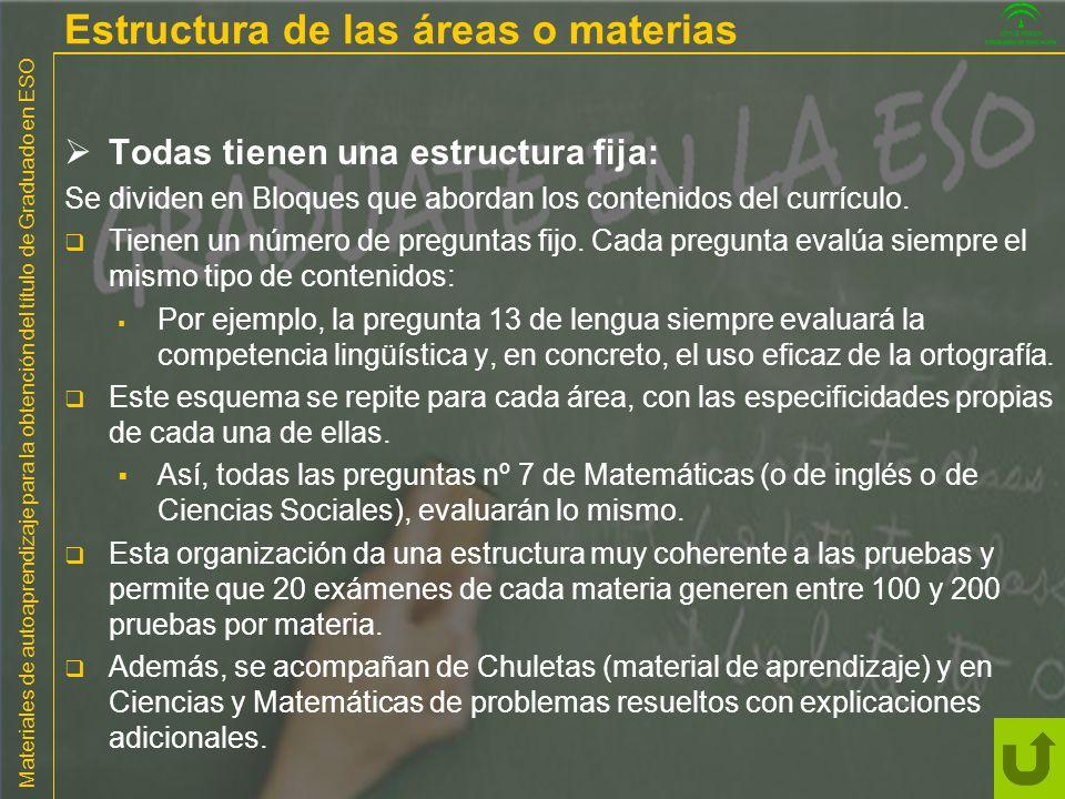 Materiales de autoaprendizaje para la obtención del título de Graduado en ESO Estructura de las áreas o materias Todas tienen una estructura fija: Se