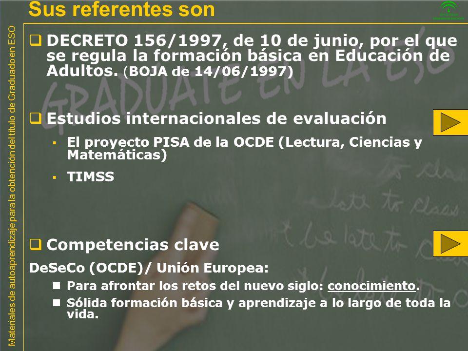 Materiales de autoaprendizaje para la obtención del título de Graduado en ESO http://www.ince.mec.es/pub/marcosteoricostimss2003.pdf Ciencias: PISA - TIMSS
