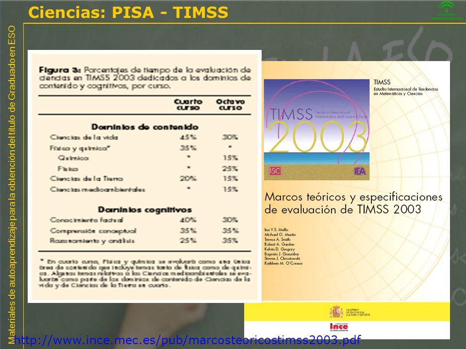 Materiales de autoaprendizaje para la obtención del título de Graduado en ESO http://www.ince.mec.es/pub/marcosteoricostimss2003.pdf Ciencias: PISA -