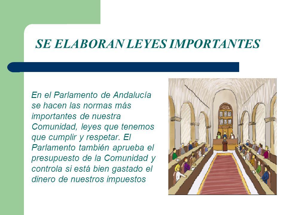En el Parlamento de Andalucía se hacen las normas más importantes de nuestra Comunidad, leyes que tenemos que cumplir y respetar. El Parlamento tambié