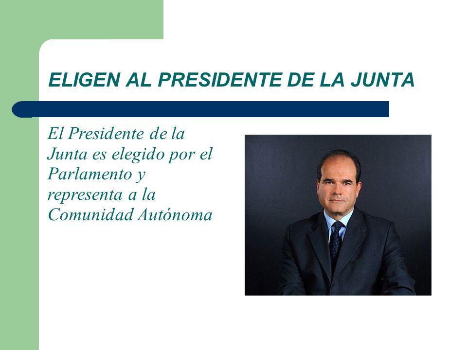 ELIGEN AL PRESIDENTE DE LA JUNTA El Presidente de la Junta es elegido por el Parlamento y representa a la Comunidad Autónoma