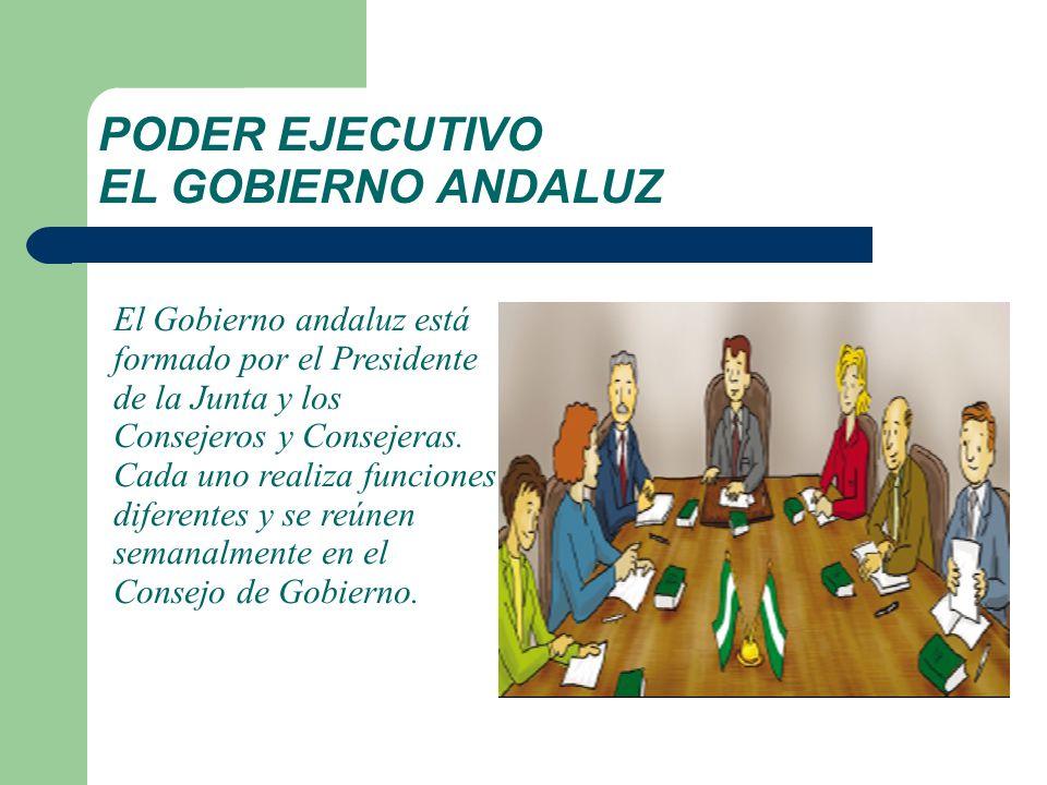 PODER EJECUTIVO EL GOBIERNO ANDALUZ El Gobierno andaluz está formado por el Presidente de la Junta y los Consejeros y Consejeras. Cada uno realiza fun