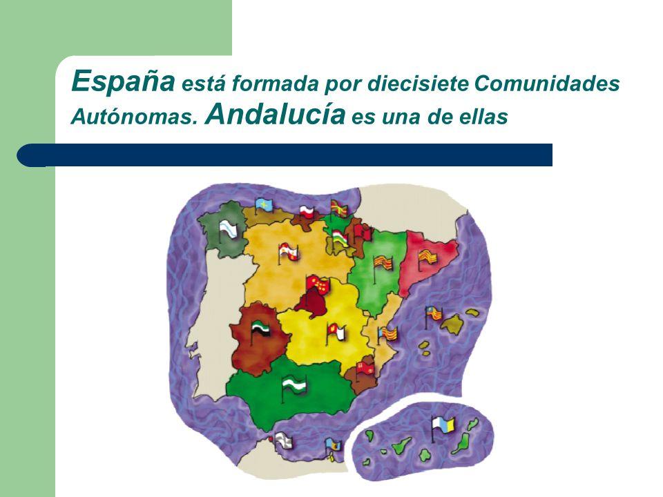 España está formada por diecisiete Comunidades Autónomas. Andalucía es una de ellas