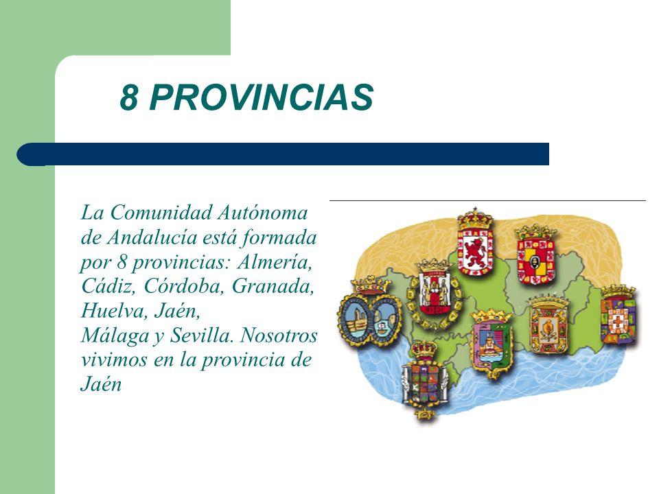 8 PROVINCIAS La Comunidad Autónoma de Andalucía está formada por 8 provincias: Almería, Cádiz, Córdoba, Granada, Huelva, Jaén, Málaga y Sevilla. Nosot