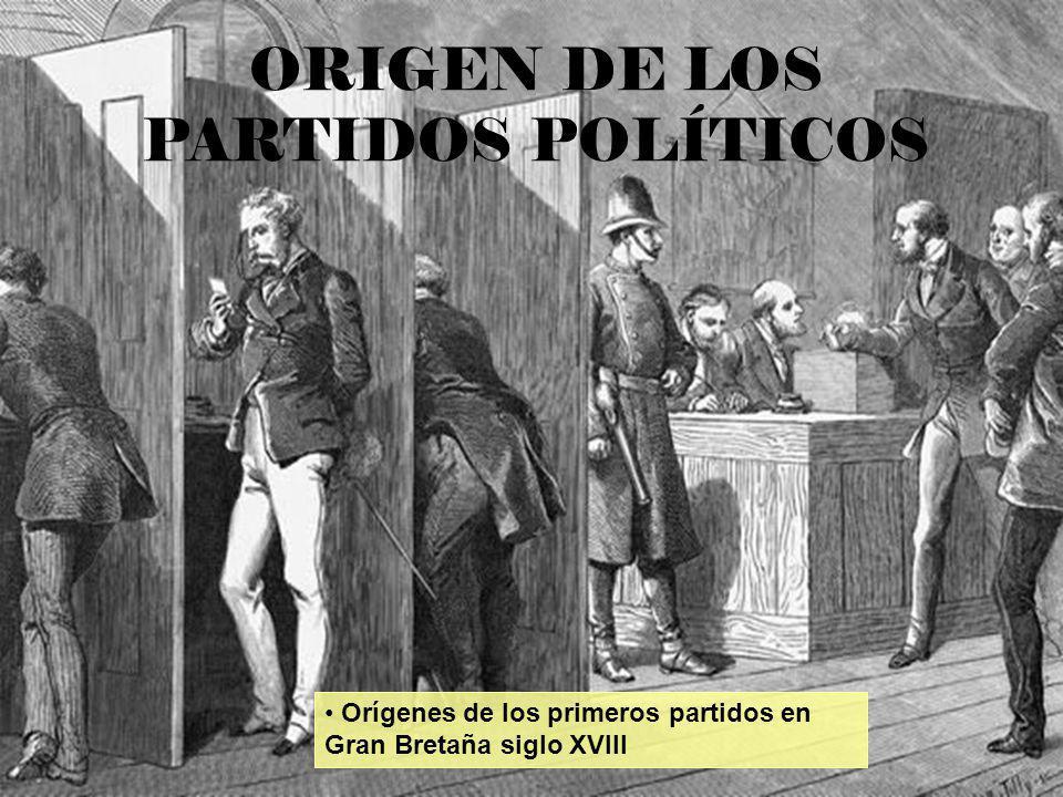 Orígenes de los primeros partidos en Gran Bretaña siglo XVIII ORIGEN DE LOS PARTIDOS POLÍTICOS