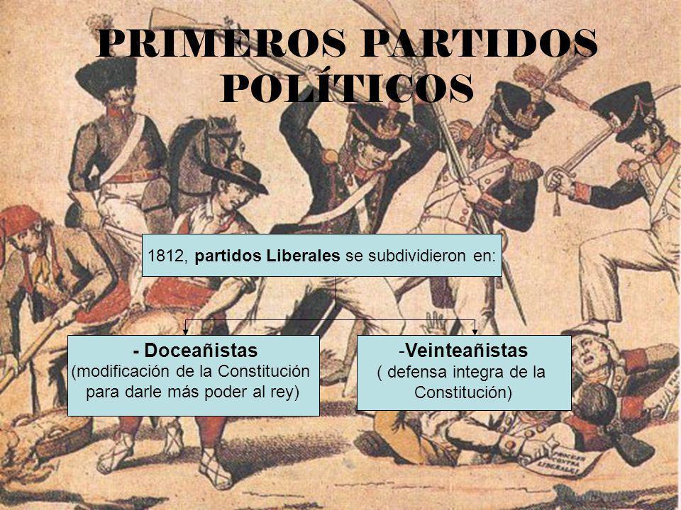 1812, partidos Liberales se subdividieron en: - Doceañistas (modificación de la Constitución para darle más poder al rey) -Veinteañistas ( defensa int