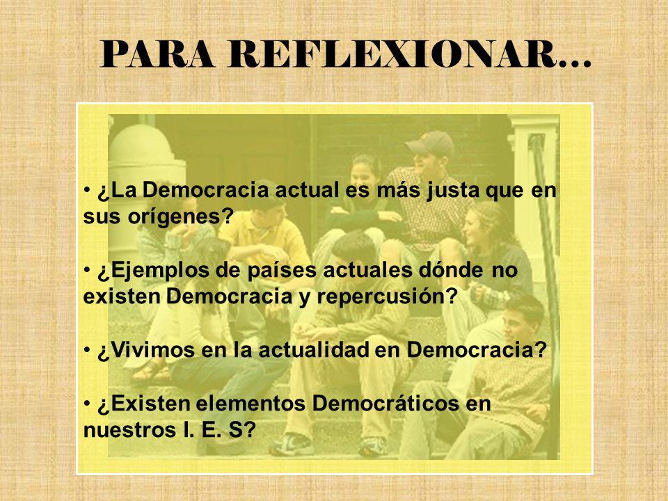 ¿La Democracia actual es más justa que en sus orígenes? ¿Ejemplos de países actuales dónde no existen Democracia y repercusión? ¿Vivimos en la actuali