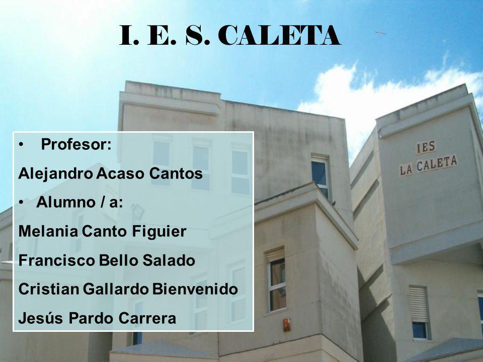 I. E. S. CALETA Profesor: Alejandro Acaso Cantos Alumno / a: Melania Canto Figuier Francisco Bello Salado Cristian Gallardo Bienvenido Jesús Pardo Car