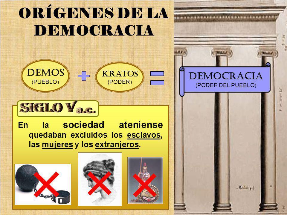 En la sociedad ateniense quedaban excluidos los esclavos, las mujeres y los extranjeros. DEMOCRACIA (PODER DEL PUEBLO) ORÍGENES DE LA DEMOCRACIA Krato