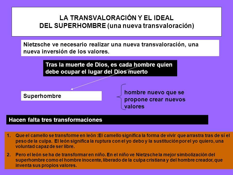 LA TRANSVALORACIÓN Y EL IDEAL DEL SUPERHOMBRE (una nueva transvaloración) Nietzsche ve necesario realizar una nueva transvaloración, una nueva inversión de los valores.