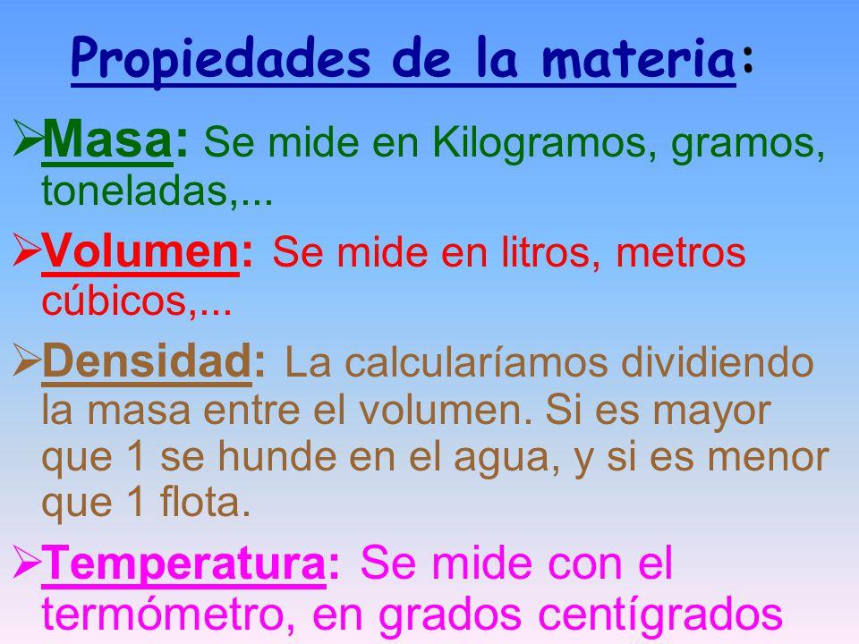 Propiedades de la materia: Masa: Se mide en Kilogramos, gramos, toneladas,...