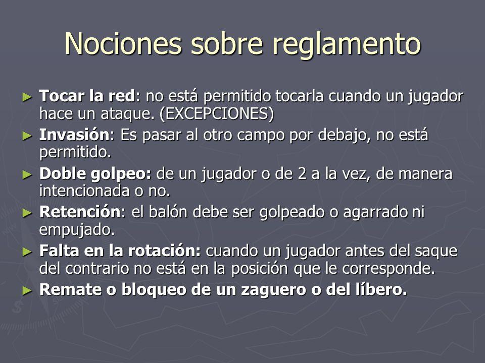 Nociones sobre reglamento Tocar la red: no está permitido tocarla cuando un jugador hace un ataque. (EXCEPCIONES) Tocar la red: no está permitido toca