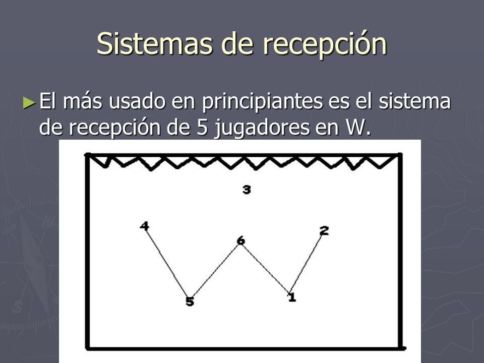 Sistemas de recepción El más usado en principiantes es el sistema de recepción de 5 jugadores en W. El más usado en principiantes es el sistema de rec