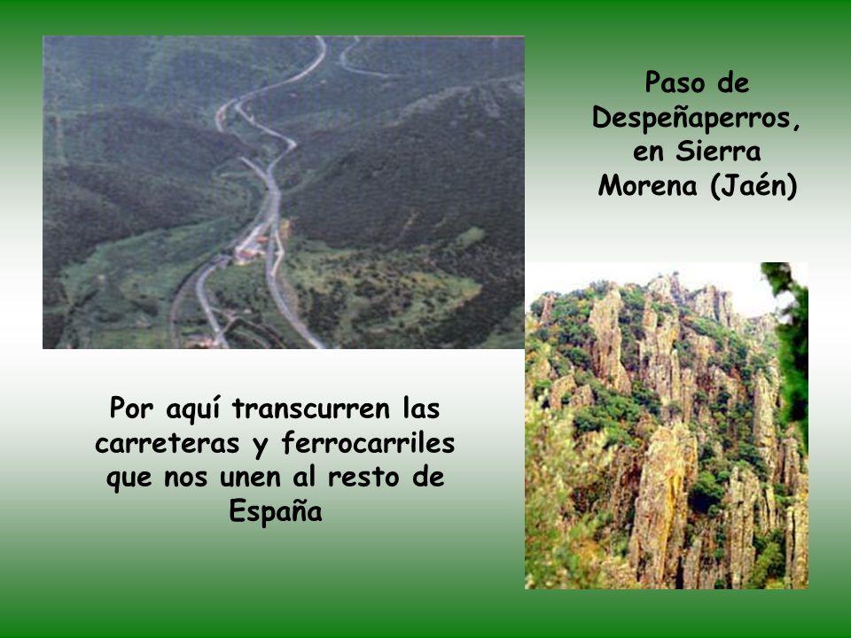 Paso de Despeñaperros, en Sierra Morena (Jaén) Por aquí transcurren las carreteras y ferrocarriles que nos unen al resto de España