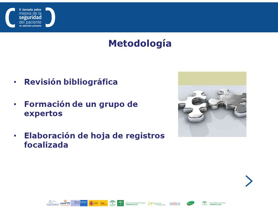 Metodología Revisión bibliográfica Formación de un grupo de expertos Elaboración de hoja de registros focalizada