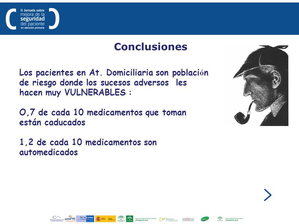 Los pacientes en At. Domiciliaria son poblaci ó n de riesgo donde los sucesos adversos les hacen muy VULNERABLES : O,7 de cada 10 medicamentos que tom