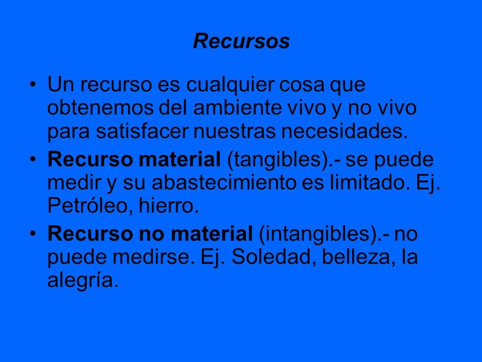 Recursos Un recurso es cualquier cosa que obtenemos del ambiente vivo y no vivo para satisfacer nuestras necesidades. Recurso material (tangibles).- s