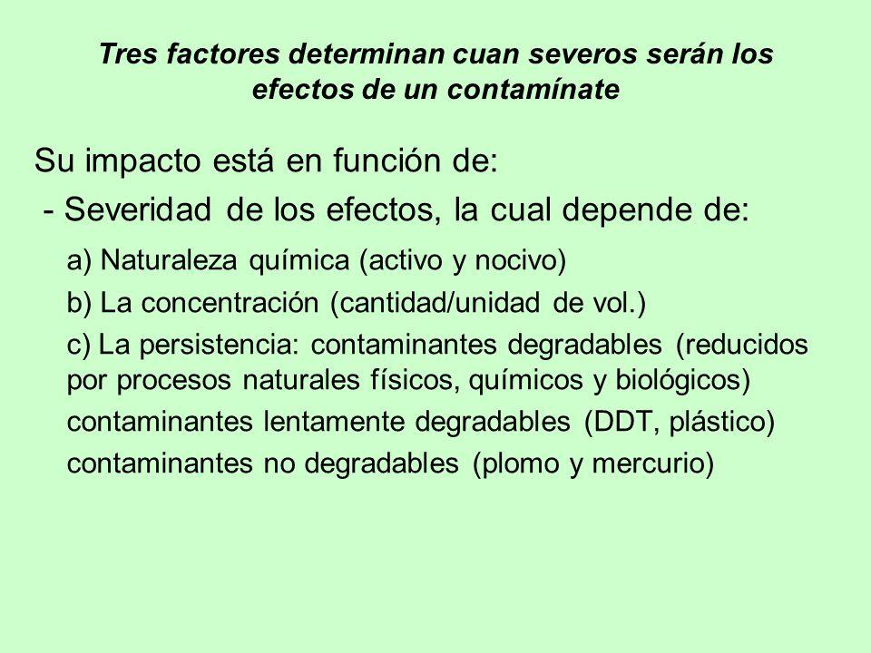 Tres factores determinan cuan severos serán los efectos de un contamínate Su impacto está en función de: - Severidad de los efectos, la cual depende d